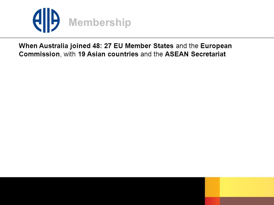 Membership When Australia joined 48: 27 EU Member States and the European Commission, with 19 Asian countries and the ASEAN Secretariat