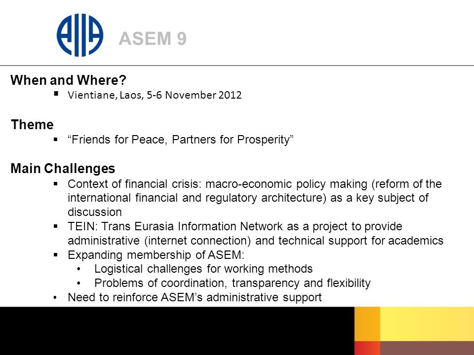 ASEM 9 When and Where.