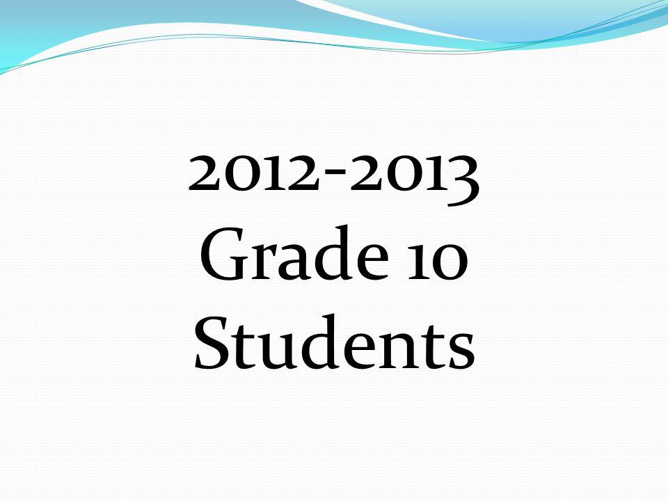 2012-2013 Grade 10 Students