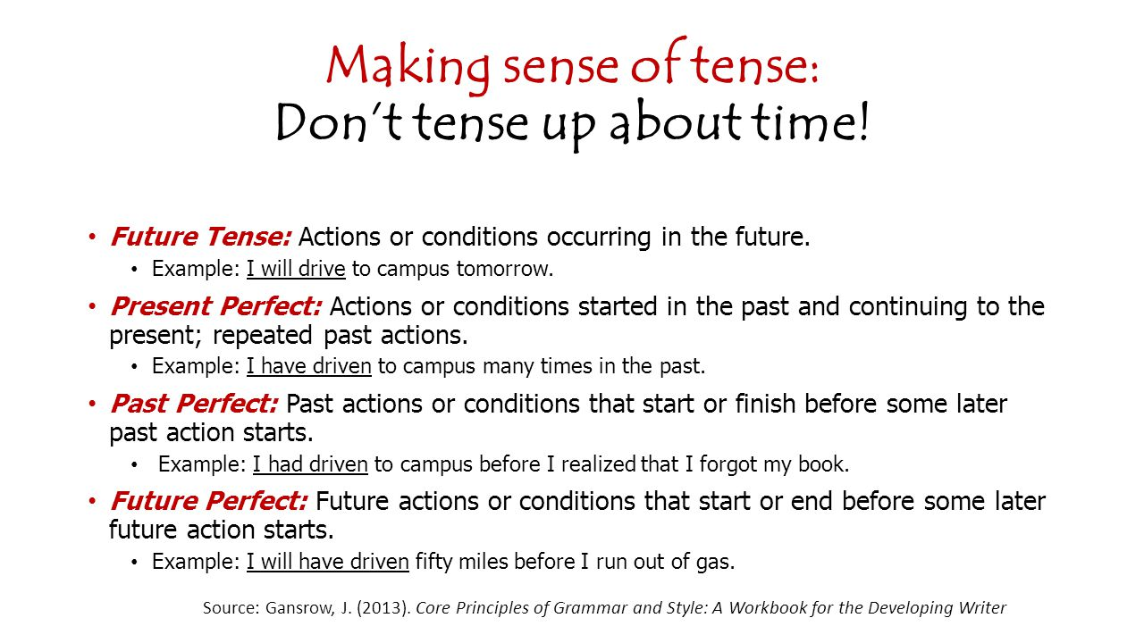 Making sense of tense: Don't tense up about time.
