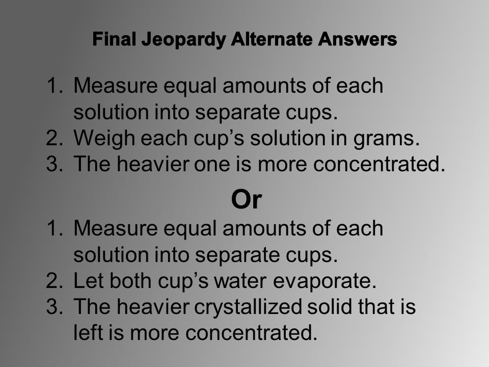 1.Measure equal amounts of each solution into separate cups. 2.Weigh each cup's solution in grams. 3.The heavier one is more concentrated. Or 1.Measur