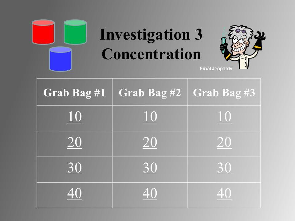 Investigation 3 Concentration Grab Bag #1Grab Bag #2Grab Bag #3 10 20 30 40 Final Jeopardy