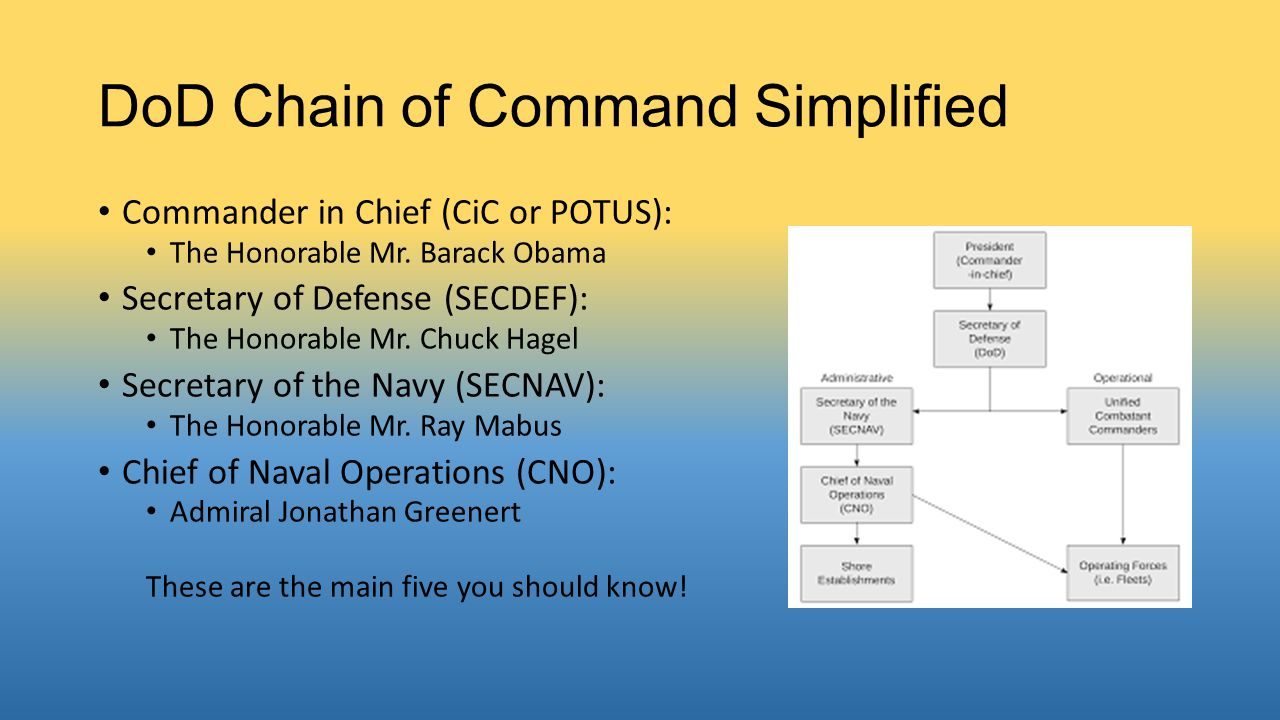 DoD Chain of Command Simplified Commander in Chief (CiC or POTUS): The Honorable Mr.