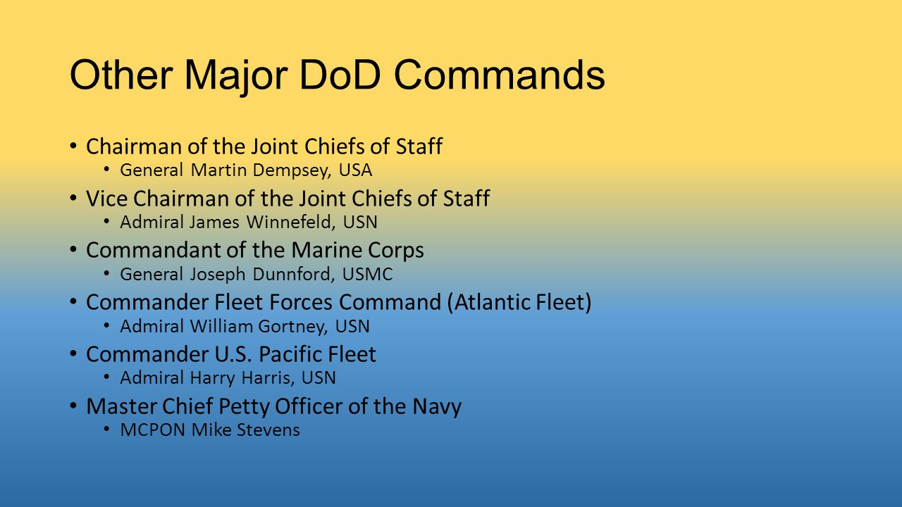 Other Major DoD Commands Chairman of the Joint Chiefs of Staff General Martin Dempsey, USA Vice Chairman of the Joint Chiefs of Staff Admiral James Winnefeld, USN Commandant of the Marine Corps General Joseph Dunnford, USMC Commander Fleet Forces Command (Atlantic Fleet) Admiral William Gortney, USN Commander U.S.