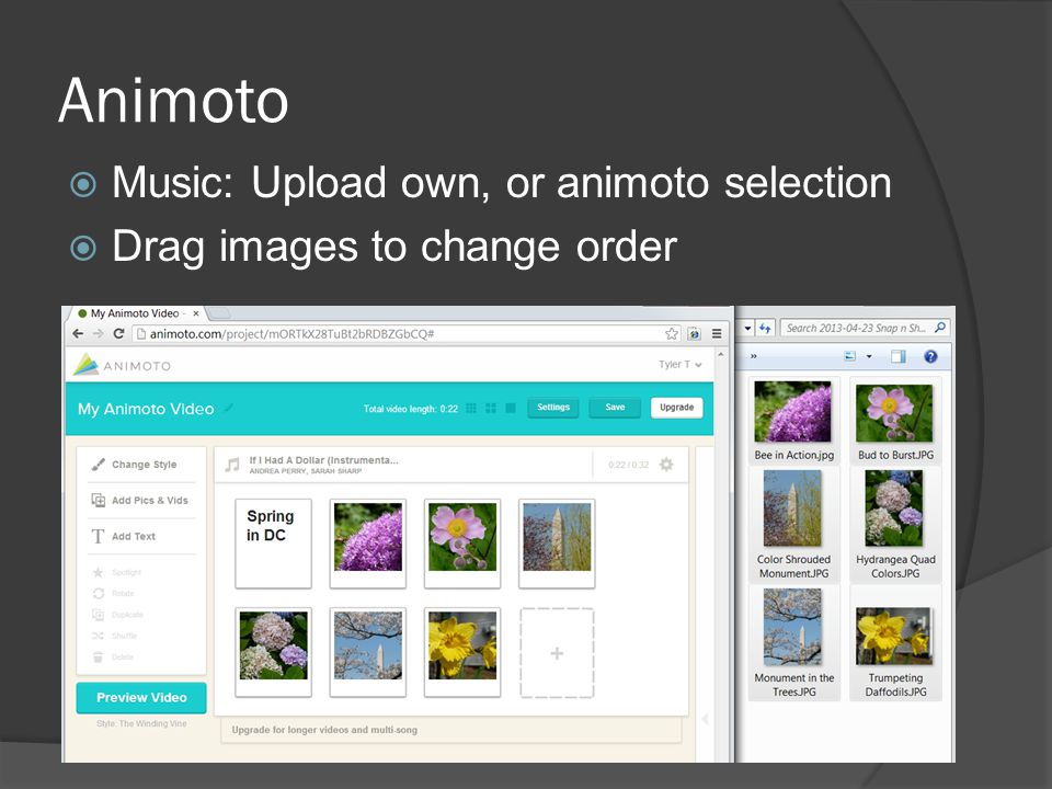 Animoto  Music: Upload own, or animoto selection  Drag images to change order