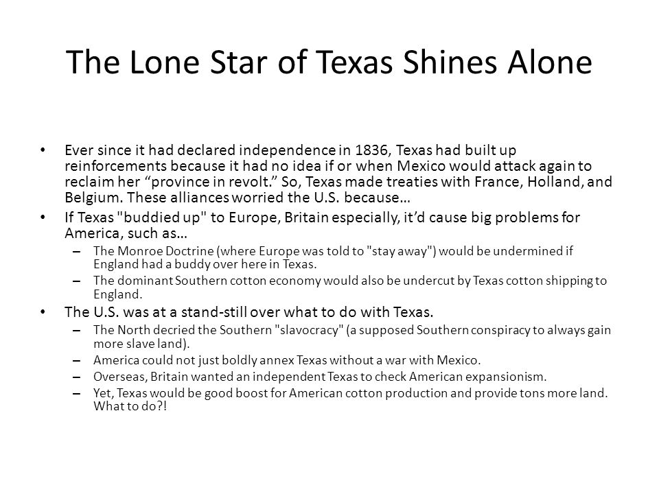 The Lone Star of Texas Shines Alone Ever since it had declared independence in 1836, Texas had built up reinforcements because it had no idea if or when Mexico would attack again to reclaim her province in revolt. So, Texas made treaties with France, Holland, and Belgium.