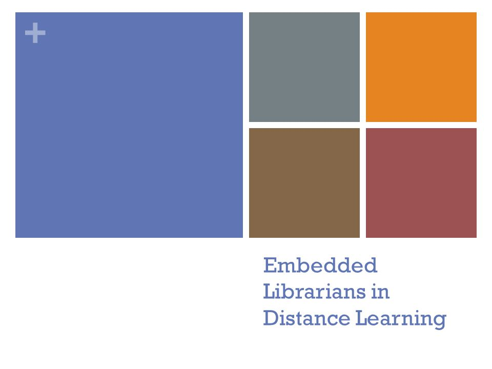 + Embedded Librarians in Distance Learning