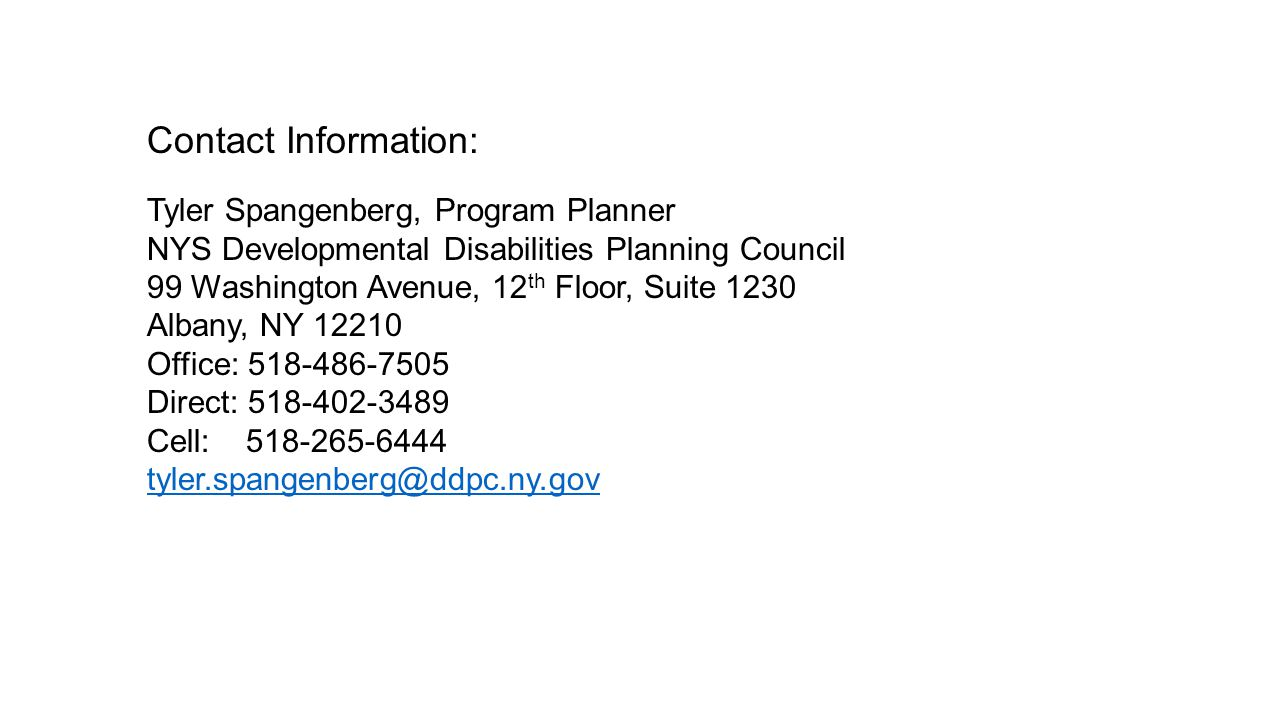 Contact Information: Tyler Spangenberg, Program Planner NYS Developmental Disabilities Planning Council 99 Washington Avenue, 12 th Floor, Suite 1230