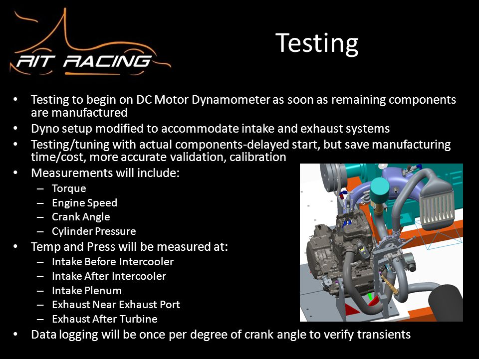 Testing Testing to begin on DC Motor Dynamometer as soon as remaining components are manufactured Dyno setup modified to accommodate intake and exhaus
