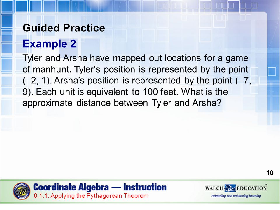 Guided Practice: Example 2, continued 1.Plot the points on a coordinate system.