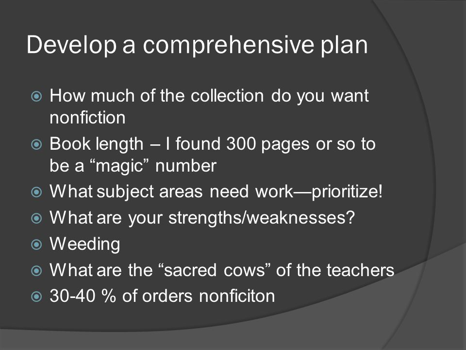 "Develop a comprehensive plan  How much of the collection do you want nonfiction  Book length – I found 300 pages or so to be a ""magic"" number  What"