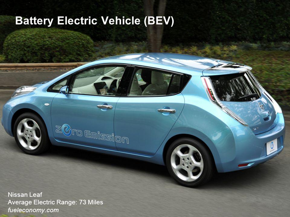 Battery Electric Vehicle (BEV) Nissan Leaf Average Electric Range: 73 Miles fueleconomy.com