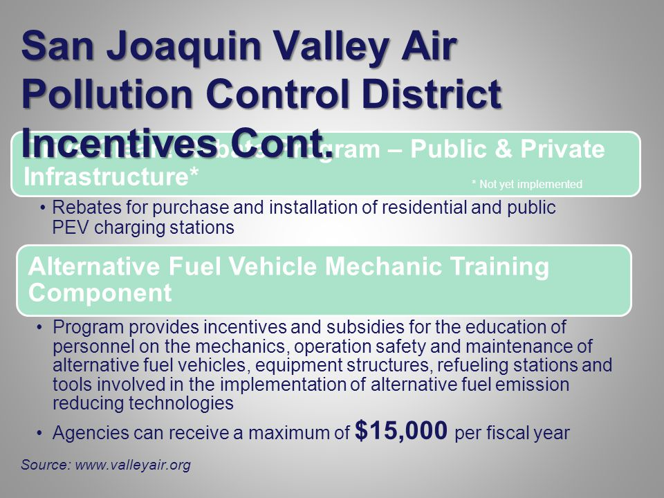 Alternative Fuel Vehicle Mechanic Training Component Program provides incentives and subsidies for the education of personnel on the mechanics, operation safety and maintenance of alternative fuel vehicles, equipment structures, refueling stations and tools involved in the implementation of alternative fuel emission reducing technologies Agencies can receive a maximum of $15,000 per fiscal year Drive Clean.