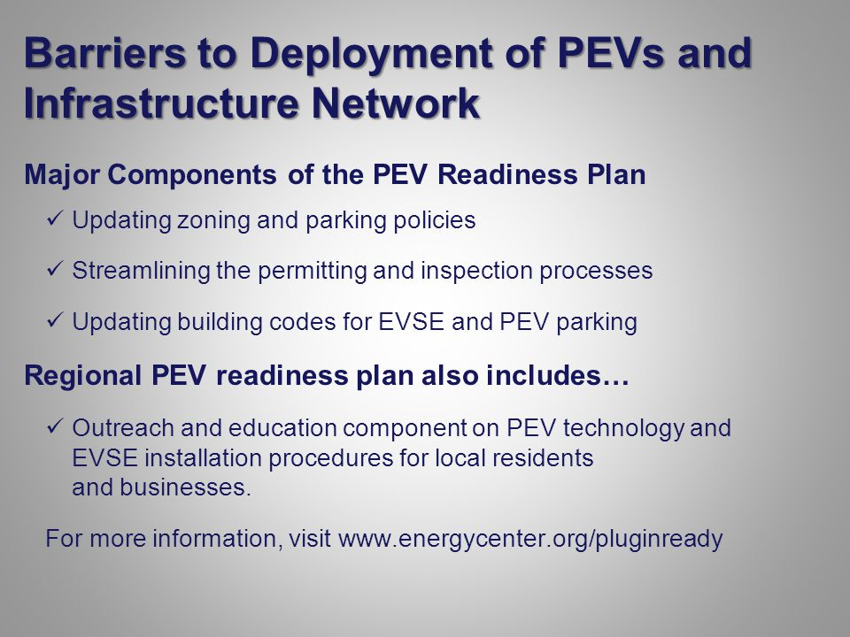 Barriers to Deployment of PEVs and Infrastructure Network Major Components of the PEV Readiness Plan Updating zoning and parking policies Streamlining the permitting and inspection processes Updating building codes for EVSE and PEV parking Regional PEV readiness plan also includes… Outreach and education component on PEV technology and EVSE installation procedures for local residents and businesses.