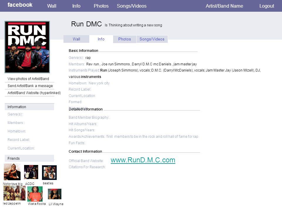 Wall InfoPhotosSongs/Videos Detailed Information Basic Information Genre(s): rap Members: Rev run, Joe run Simmons, Darryl D.M.C mc Daniels, jam master jay Instruments Played:Run (Joseph Simmons), vocals; D.M.C.