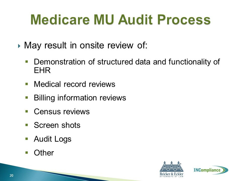  May result in onsite review of:  Demonstration of structured data and functionality of EHR  Medical record reviews  Billing information reviews 