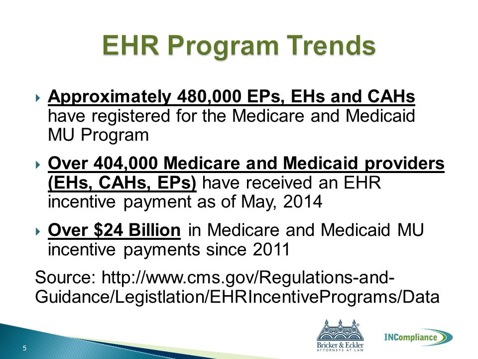  Approximately 480,000 EPs, EHs and CAHs have registered for the Medicare and Medicaid MU Program  Over 404,000 Medicare and Medicaid providers (EHs
