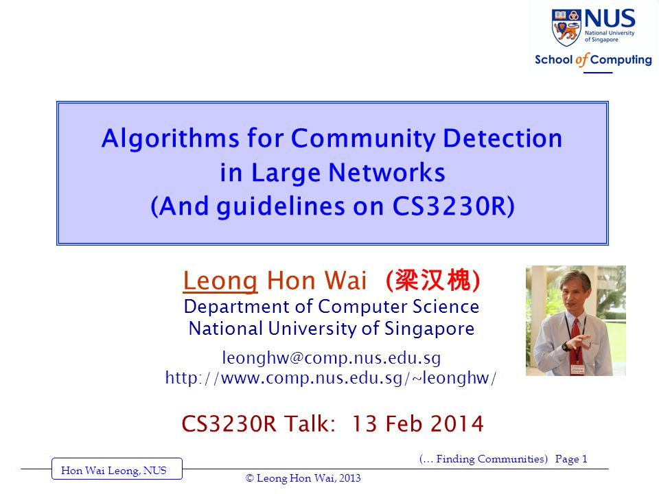http://www.cscs.umich.edu/~crshalizi/notebooks/community-discovery.html * Recommended: Aaron Clauset, Finding local community structure in networks , physics/0503036 = Physical Review E 72 (2005): 026132 [Clever; but then, Aaron is clever.] * Aaron Clauset, M.