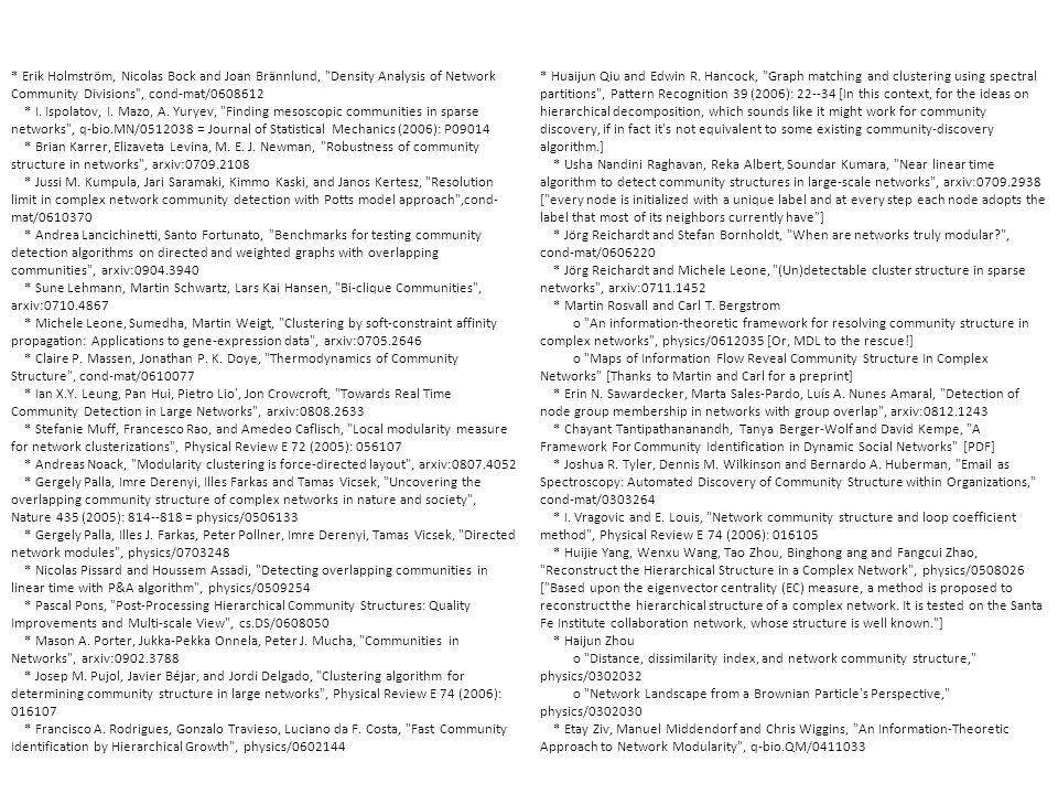 * Erik Holmström, Nicolas Bock and Joan Brännlund, Density Analysis of Network Community Divisions , cond-mat/0608612 * I.