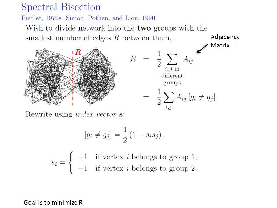 Goal is to minimize R Adjacency Matrix