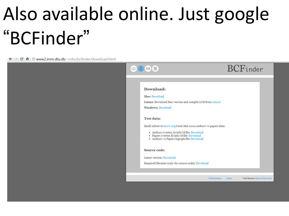 "Also available online. Just google ""BCFinder"""
