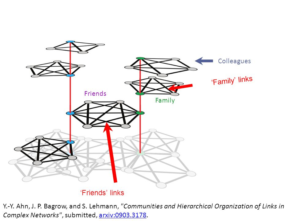 'Family' links 'Friends' links Colleagues Friends Family Y.-Y. Ahn, J. P. Bagrow, and S. Lehmann,