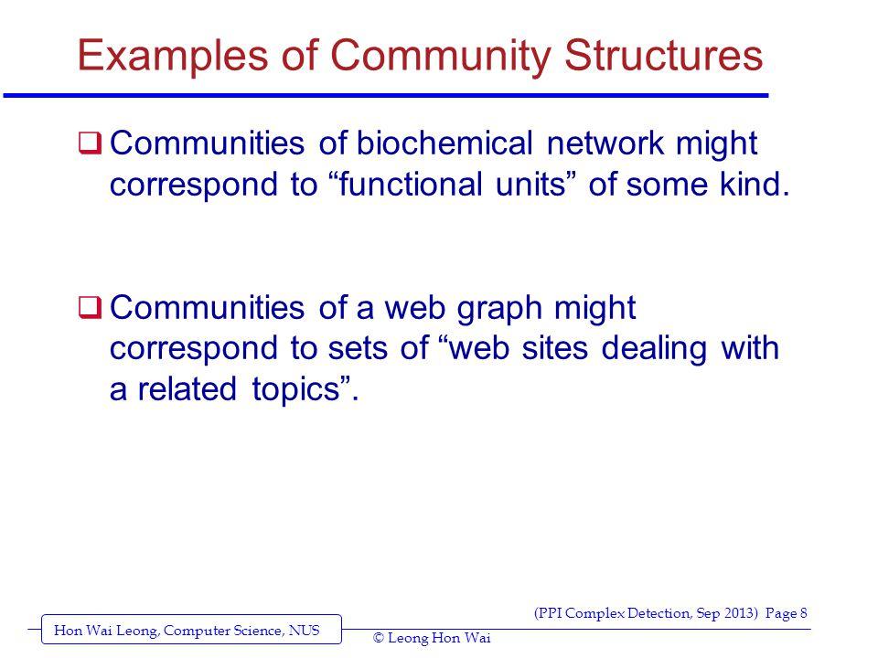 Hon Wai Leong, Computer Science, NUS (PPI Complex Detection, Sep 2013) Page 9 © Leong Hon Wai Community Structure (example)