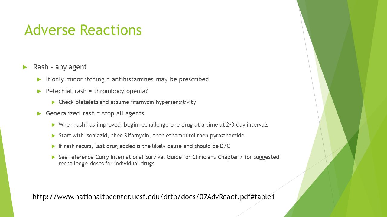 Adverse Reactions  Rash – any agent  If only minor itching = antihistamines may be prescribed  Petechial rash = thrombocytopenia.