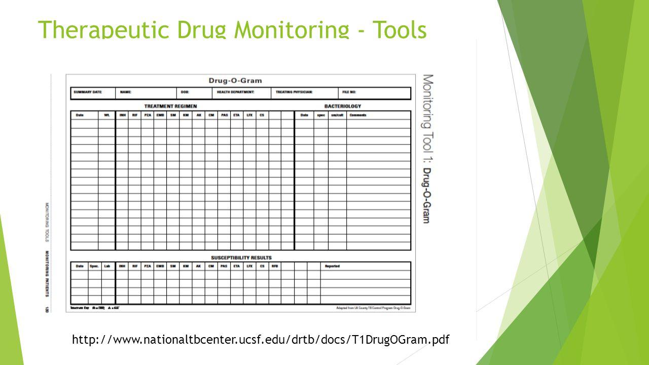 Therapeutic Drug Monitoring - Tools http://www.nationaltbcenter.ucsf.edu/drtb/docs/T1DrugOGram.pdf