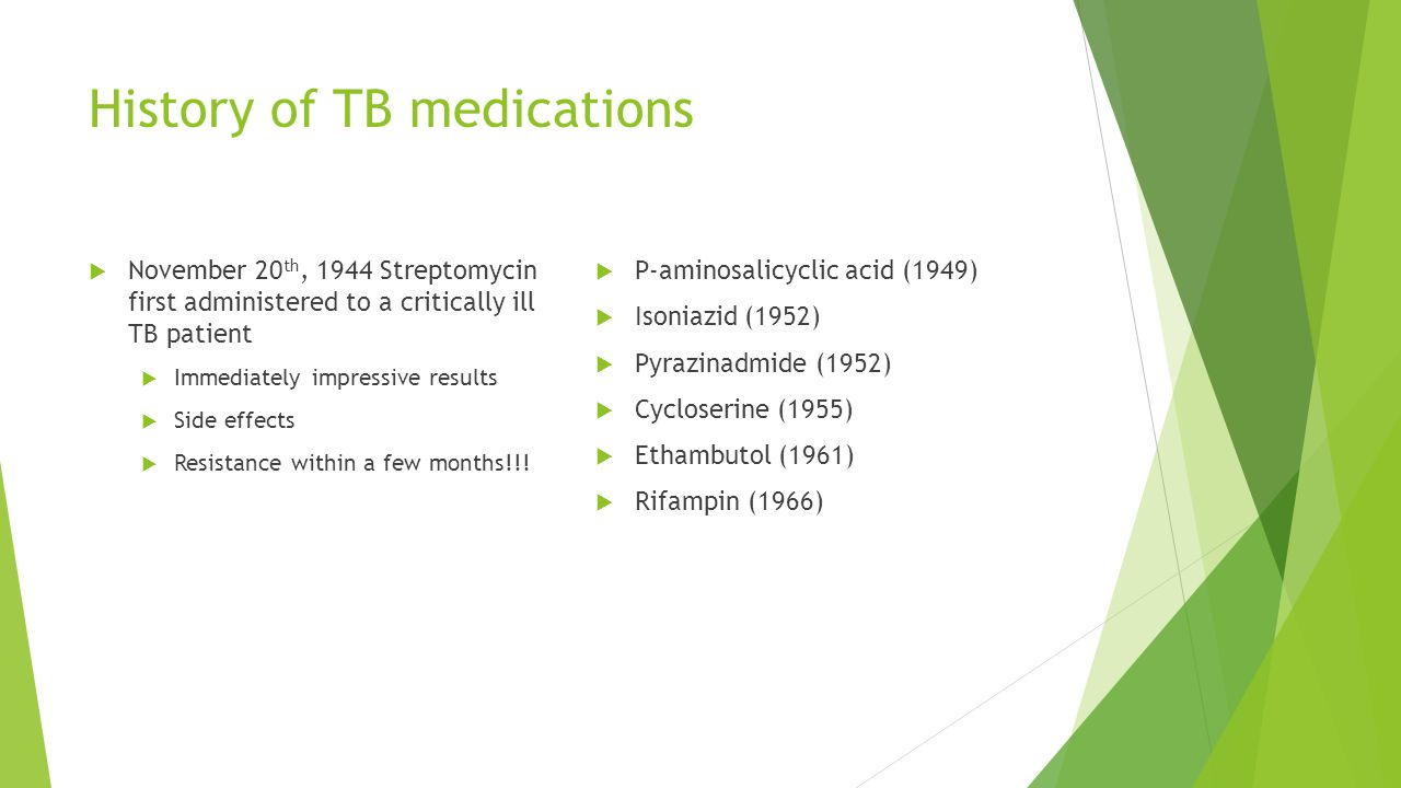 Therapeutic Drug Monitoring  First-line drugs have predictable pharmacokinetics and are highly efficacious when given as DOT in standard doses  Many experts feel strongly about routine use of TDM  2 nd and 3 rd line agents have narrow therapeutic window  MIC is very close to concentration that causes toxicity  Increase dose if you see level is well below toxicity level  See high level before patient complains of toxicity symptoms  Routinely used for aminoglycosides  Disadvantages  Time necessary from both patients and providers to obtain and ship blood samples  High cost of measuring serum drug concentrations