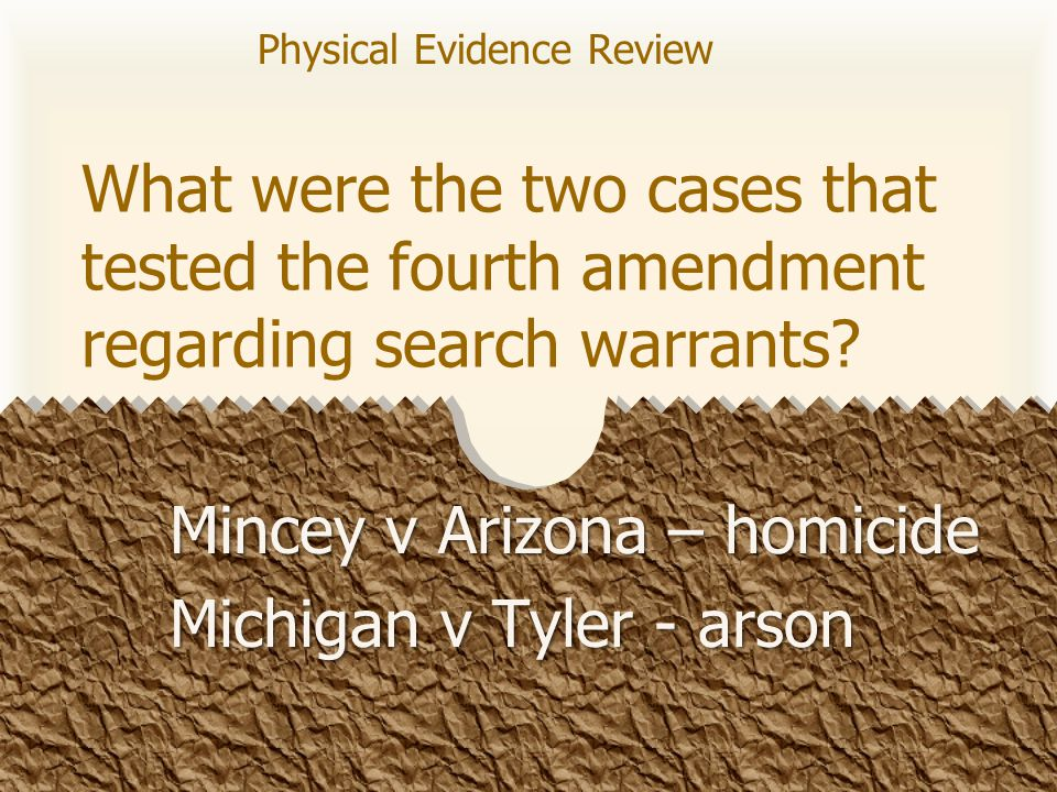 What were the two cases that tested the fourth amendment regarding search warrants.