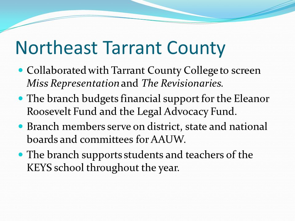 Northeast Tarrant County Collaborated with Tarrant County College to screen Miss Representation and The Revisionaries. The branch budgets financial su