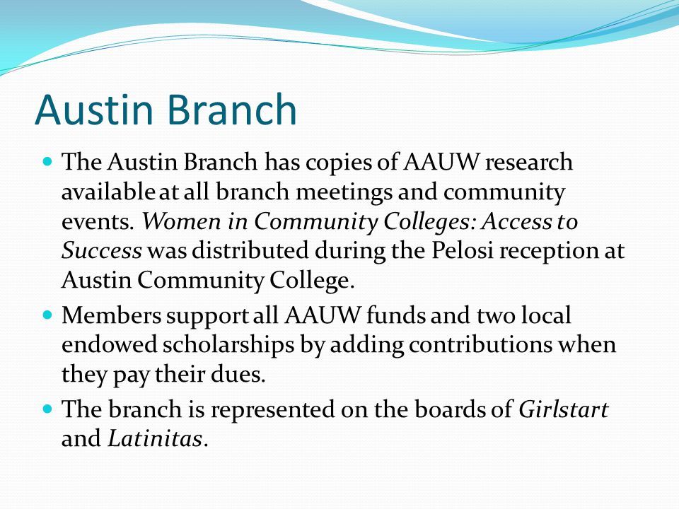 Austin Branch The Austin Branch has copies of AAUW research available at all branch meetings and community events. Women in Community Colleges: Access