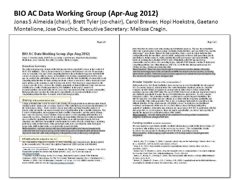 BIO AC Data Working Group (Apr-Aug 2012) Jonas S Almeida (chair), Brett Tyler (co-chair), Carol Brewer, Hopi Hoekstra, Gaetano Montelione, Jose Onuchi
