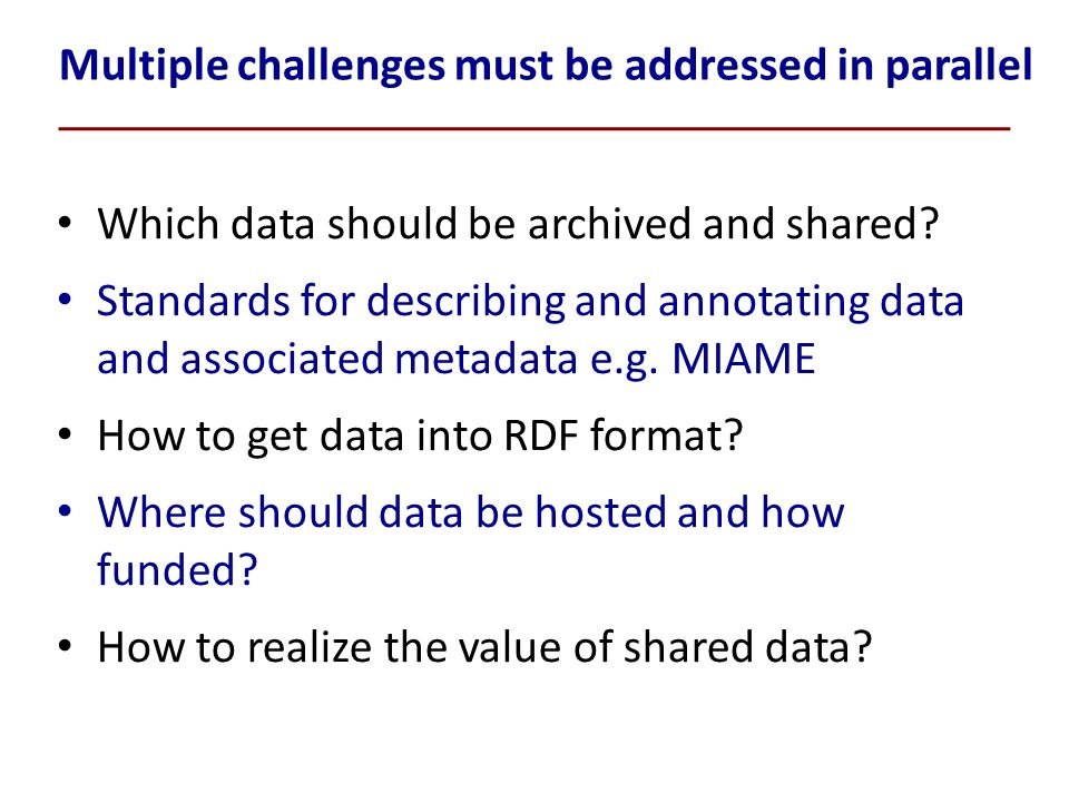 Multiple challenges must be addressed in parallel Which data should be archived and shared.
