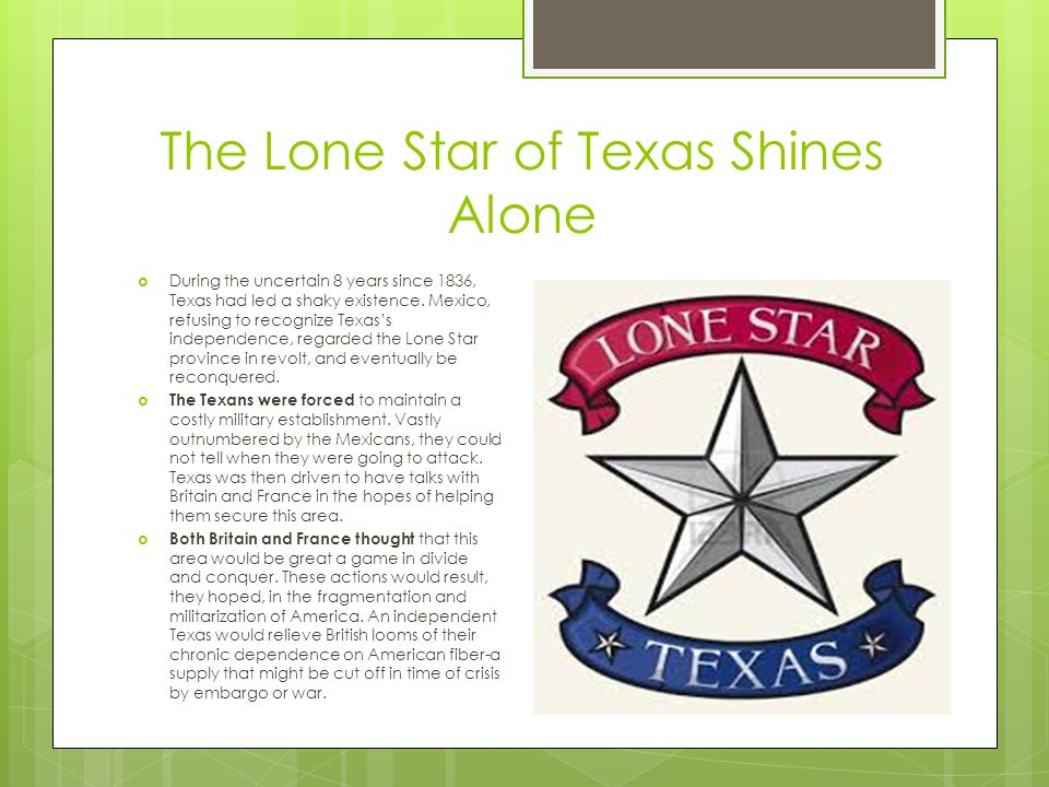 The Lone Star of Texas Shines Alone  During the uncertain 8 years since 1836, Texas had led a shaky existence.