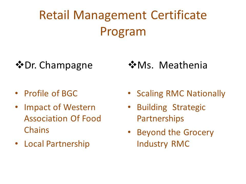 Retail Management Certificate Program  Dr.