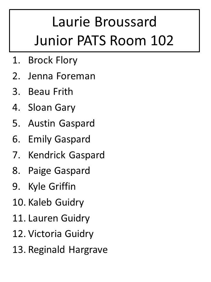 Laurie Broussard Junior PATS Room 102 1.Brock Flory 2.Jenna Foreman 3.Beau Frith 4.Sloan Gary 5.Austin Gaspard 6.Emily Gaspard 7.Kendrick Gaspard 8.Paige Gaspard 9.Kyle Griffin 10.Kaleb Guidry 11.Lauren Guidry 12.Victoria Guidry 13.Reginald Hargrave