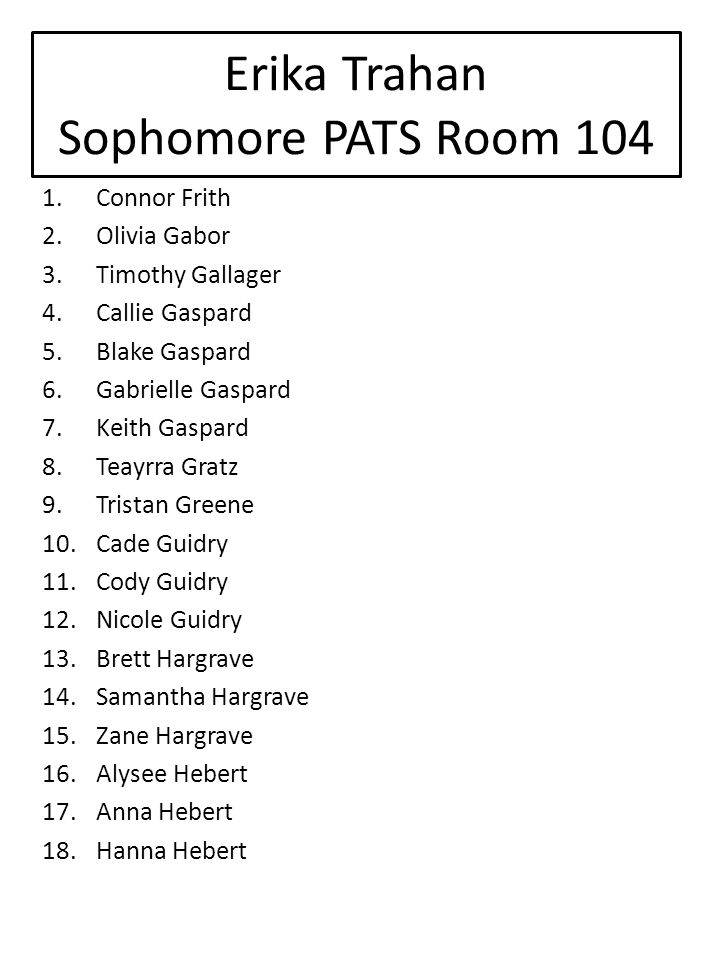 Erika Trahan Sophomore PATS Room 104 1.Connor Frith 2.Olivia Gabor 3.Timothy Gallager 4.Callie Gaspard 5.Blake Gaspard 6.Gabrielle Gaspard 7.Keith Gaspard 8.Teayrra Gratz 9.Tristan Greene 10.Cade Guidry 11.Cody Guidry 12.Nicole Guidry 13.Brett Hargrave 14.Samantha Hargrave 15.Zane Hargrave 16.Alysee Hebert 17.Anna Hebert 18.Hanna Hebert