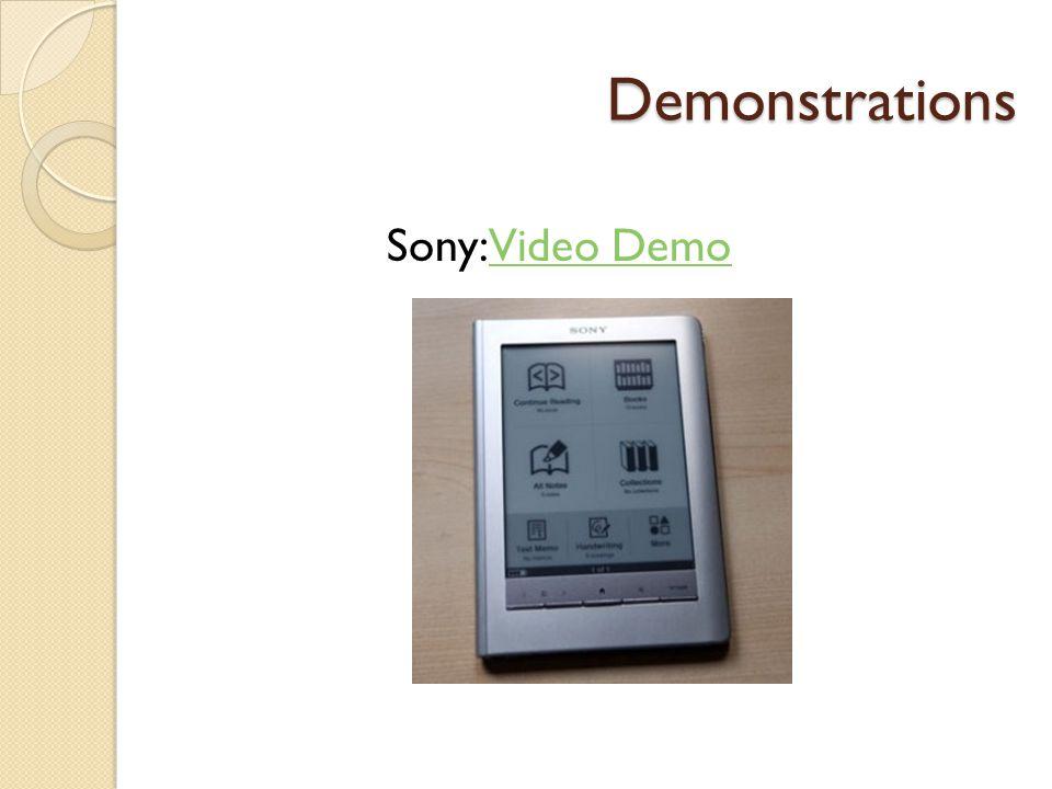 Demonstrations Sony: Video DemoVideo Demo
