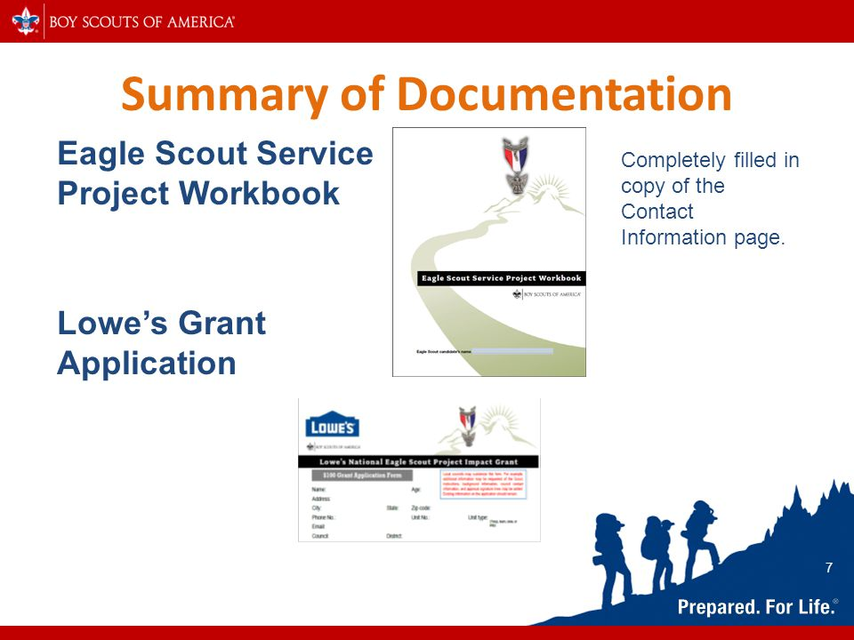 Summary of Documentation Eagle Scout Service Project Workbook Lowe's Grant Application Completely filled in copy of the Contact Information page. 7