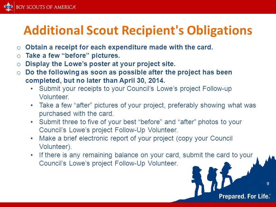 Additional Scout Recipient s Obligations o Obtain a receipt for each expenditure made with the card.