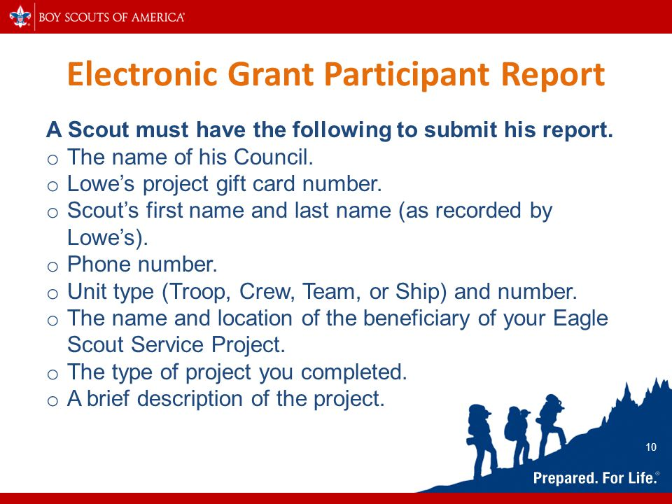 Electronic Grant Participant Report A Scout must have the following to submit his report. o The name of his Council. o Lowe's project gift card number