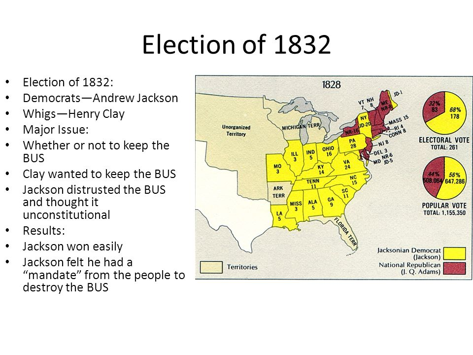 Election of 1832 Election of 1832: Democrats—Andrew Jackson Whigs—Henry Clay Major Issue: Whether or not to keep the BUS Clay wanted to keep the BUS J