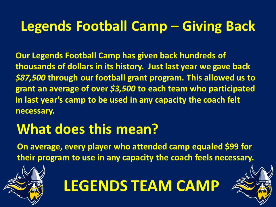 Legends Football Camp – Giving Back Our Legends Football Camp has given back hundreds of thousands of dollars in its history. Just last year we gave b