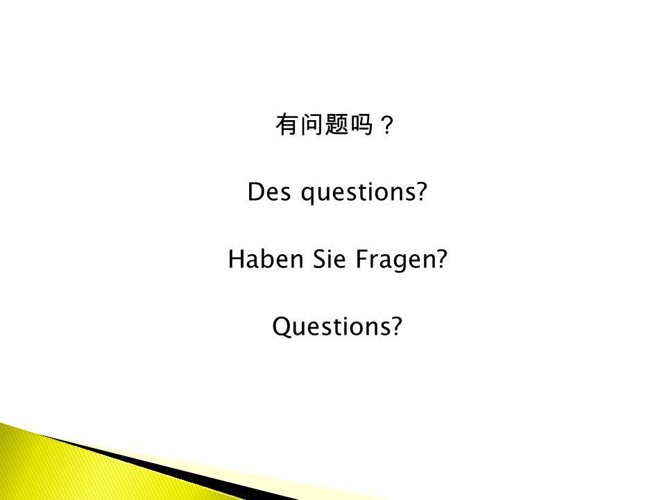 有问题吗? Des questions? Haben Sie Fragen? Questions?