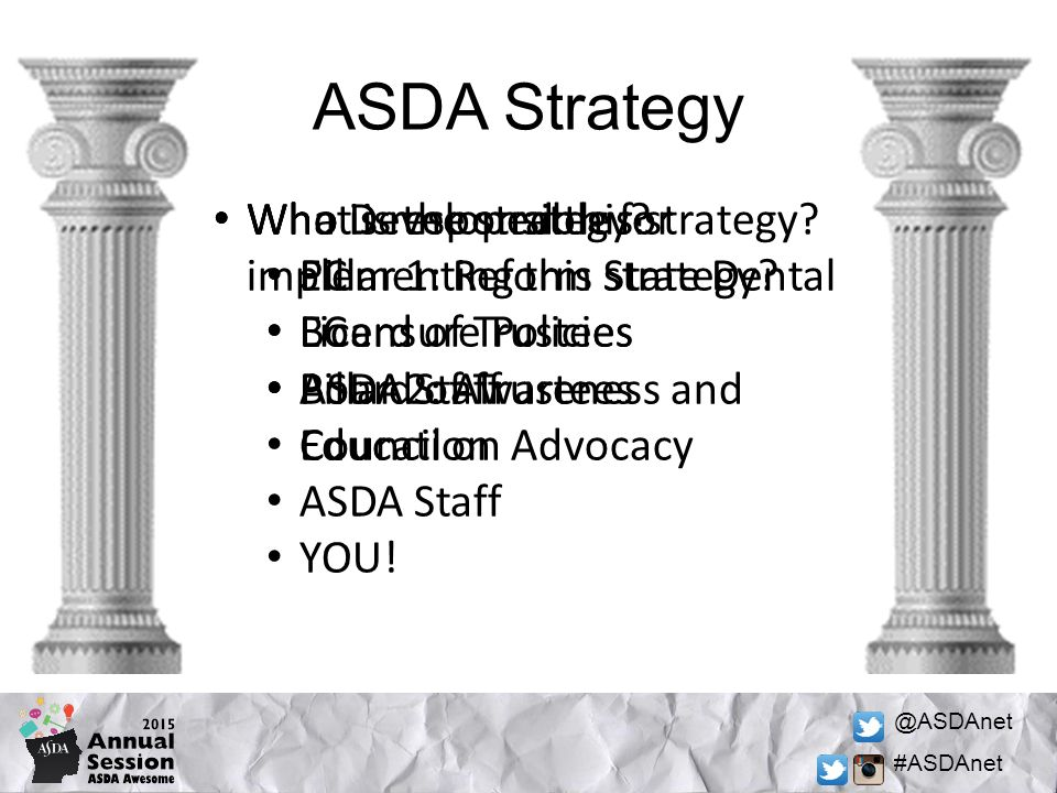 @ASDAnet #ASDAnet ASDA Strategy Who Developed this strategy? EC Board of Trustees ASDA Staff Who is responsible for implementing this strategy? EC Boa