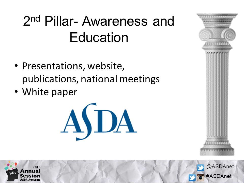 @ASDAnet #ASDAnet 2 nd Pillar- Awareness and Education Presentations, website, publications, national meetings White paper