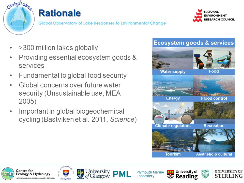 >300 million lakes globally Providing essential ecosystem goods & services Fundamental to global food security Global concerns over future water security (Unsustainable use; MEA 2005) Important in global biogeochemical cycling (Bastviken et al.