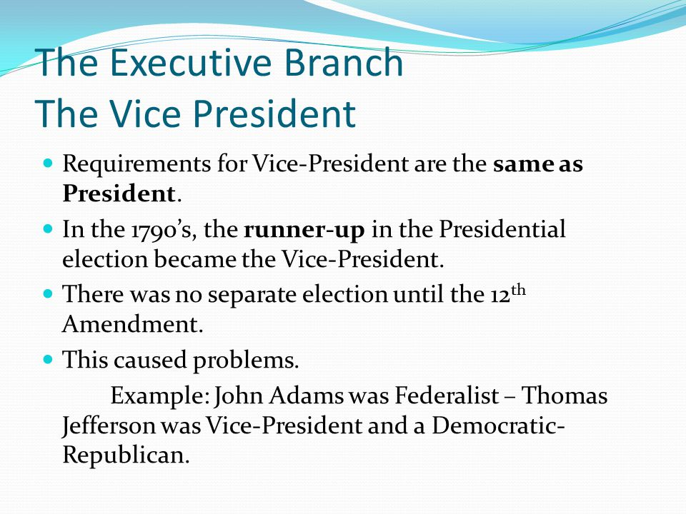 The Executive Branch The Vice President Requirements for Vice-President are the same as President. In the 1790's, the runner-up in the Presidential el